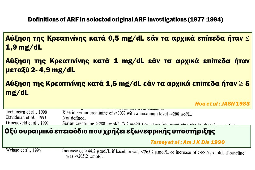Definitions of ARF in selected original ARF investigations (1977-1994)