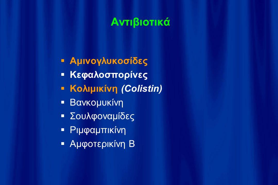 Αντιβιοτικά Αμινογλυκοσίδες Κεφαλοσπορίνες Κολιμικίνη (Colistin)