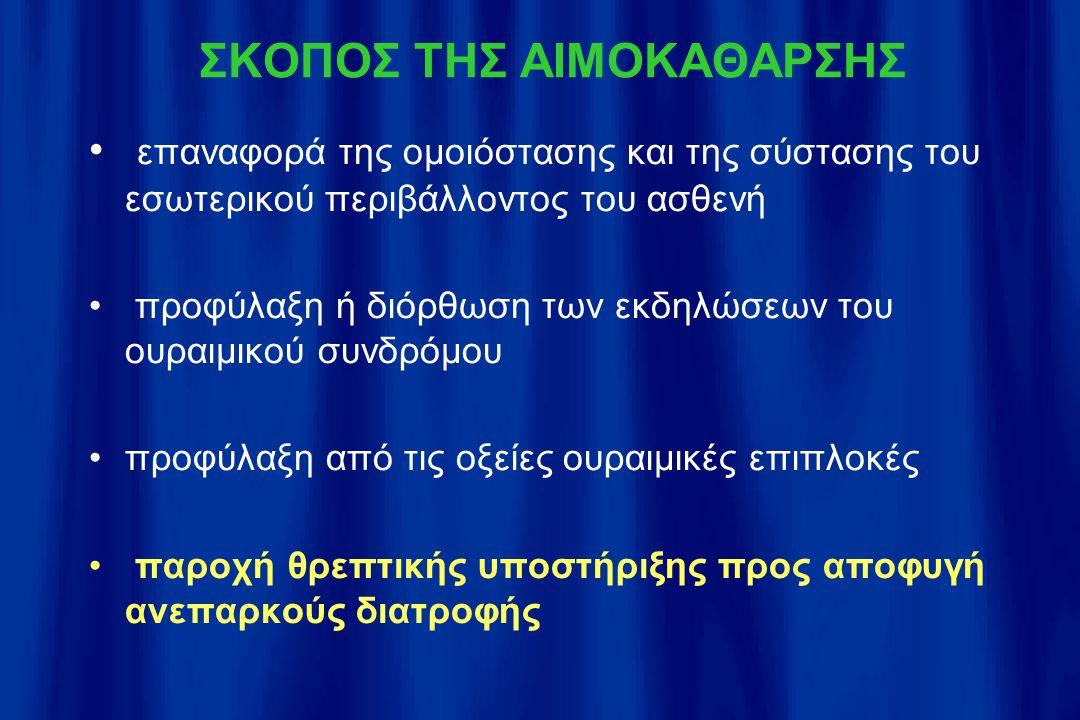 ΣΚΟΠΟΣ ΤΗΣ ΑΙΜΟΚΑΘΑΡΣΗΣ