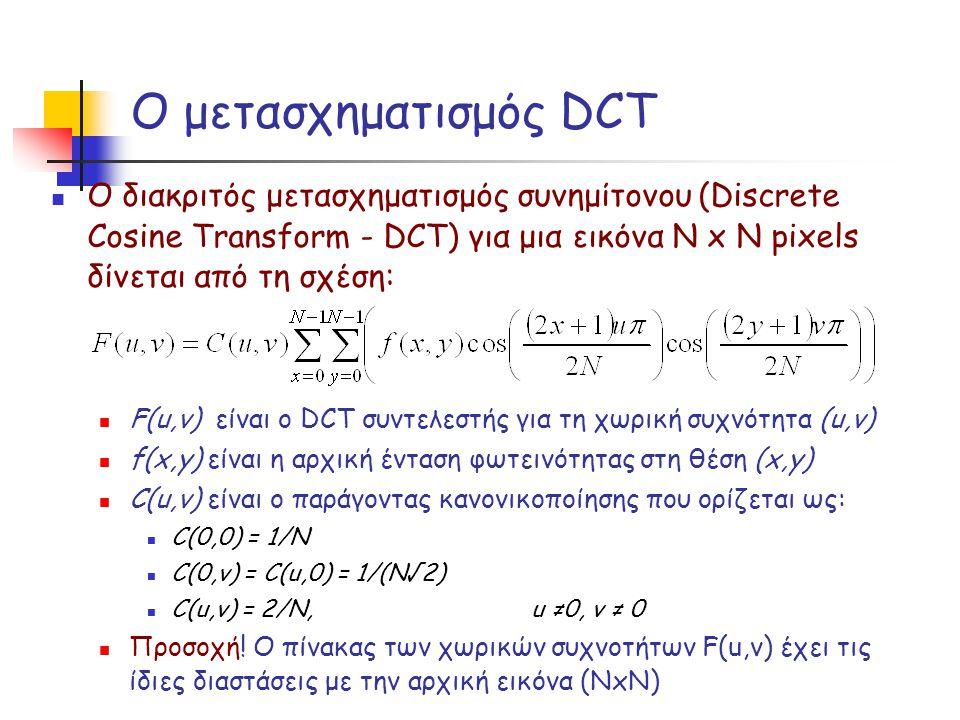 Ο μετασχηματισμός DCT Ο διακριτός μετασχηματισμός συνημίτονου (Discrete Cosine Transform - DCT) για μια εικόνα Ν x Ν pixels δίνεται από τη σχέση: