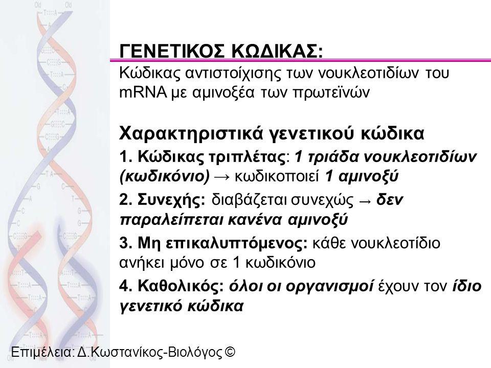 Χαρακτηριστικά γενετικού κώδικα