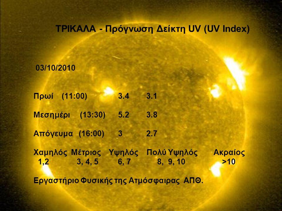 ΤΡΙΚΑΛΑ - Πρόγνωση Δείκτη UV (UV Index)