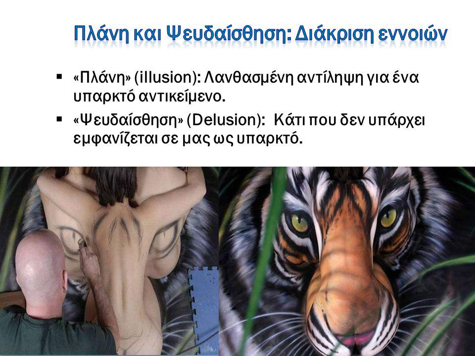 «Πλάνη» (illusion): Λανθασμένη αντίληψη για ένα υπαρκτό αντικείμενο.