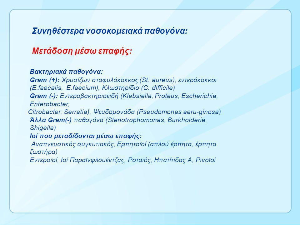 Συνηθέστερα νοσοκομειακά παθογόνα: Μετάδοση μέσω επαφής: Βακτηριακά παθογόνα: Gram (+): Xρυσίζων σταφυλόκοκκος (St.