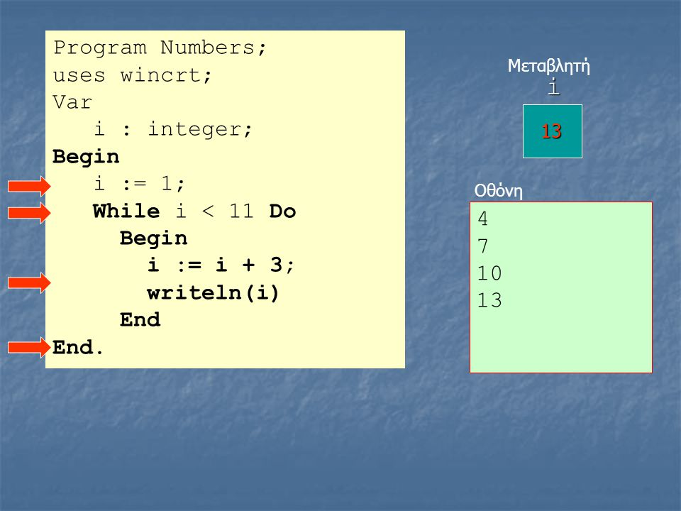 i Program Numbers; uses wincrt; Var i : integer; Begin i := 1;