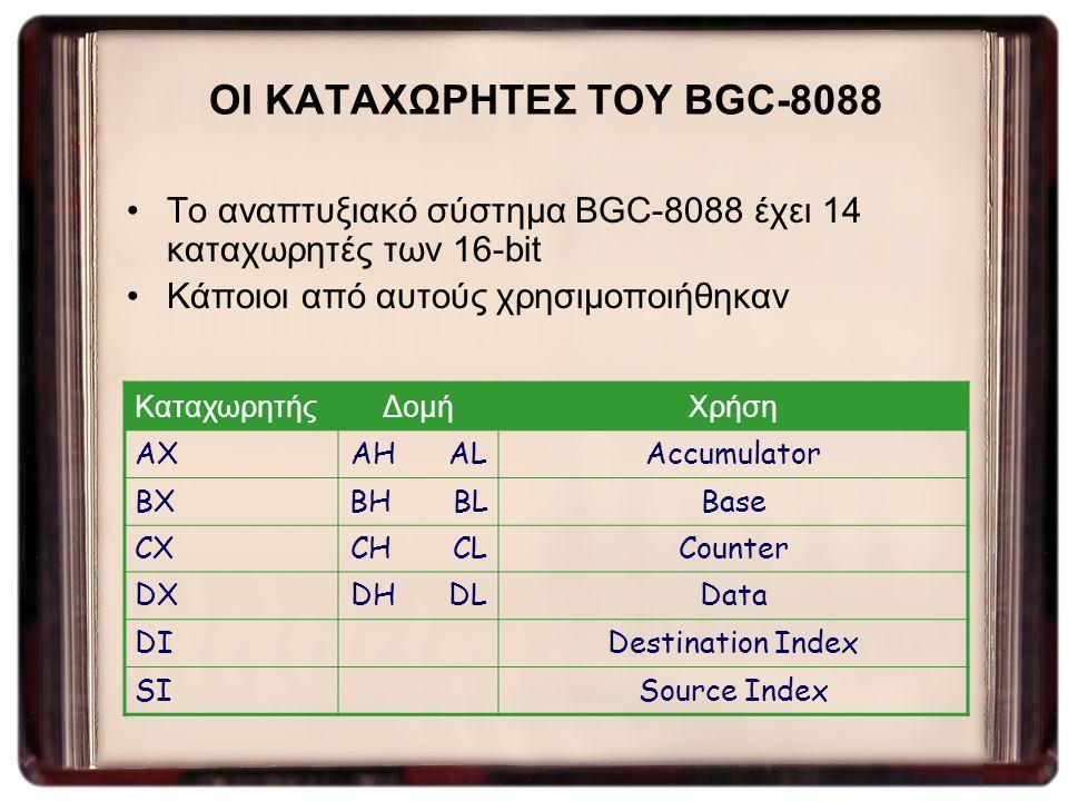 ΟΙ ΚΑΤΑΧΩΡΗΤΕΣ ΤΟΥ BGC-8088