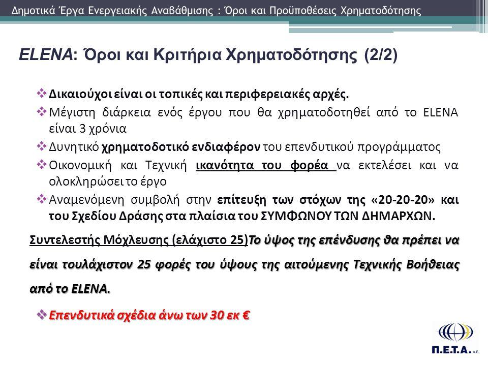ELENA: Όροι και Κριτήρια Χρηματοδότησης (2/2)