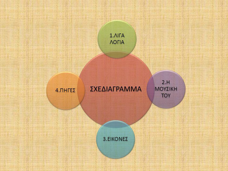 ΣΧΕΔΙΑΓΡΑΜΜΑ 1.ΛΙΓΑ ΛΟΓΙΑ 2.Η ΜΟΥΣΙΚΗ ΤΟΥ 3.ΕΙΚΟΝΕΣ 4.ΠΗΓΕΣ