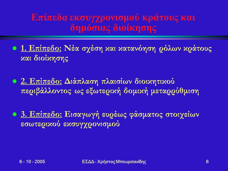 Επίπεδα εκσυγχρονισμού κράτους και δημόσιας διοίκησης