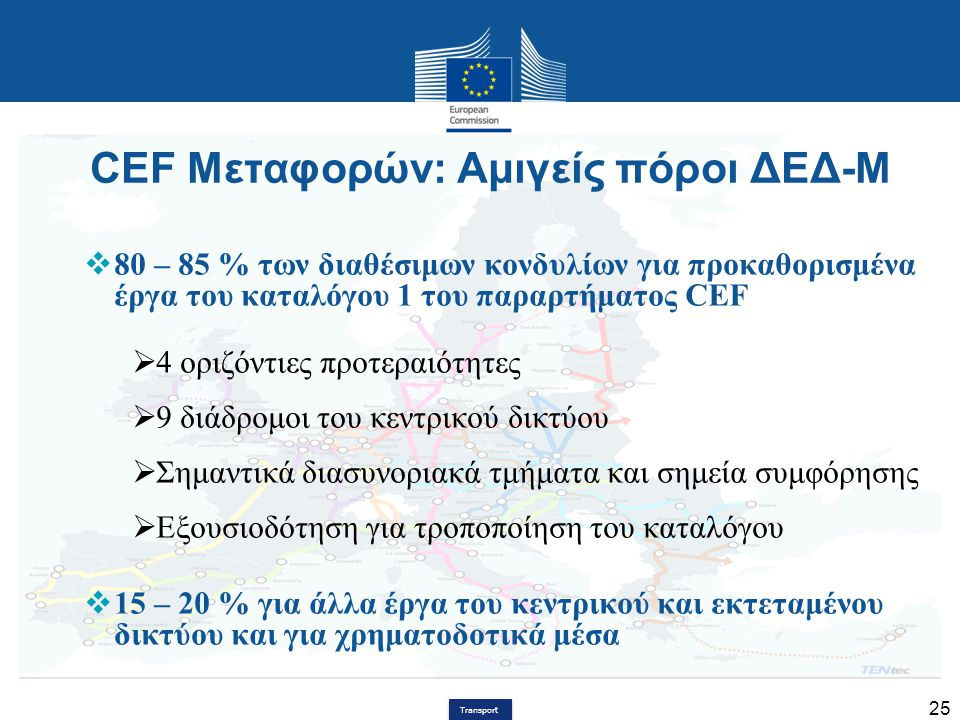 CEF Μεταφορών: Αμιγείς πόροι ΔΕΔ-Μ