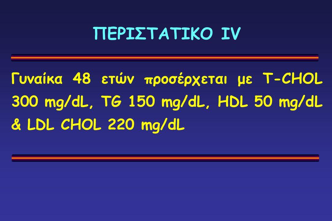 ΠΕΡΙΣΤΑΤΙΚΟ ΙV Γυναίκα 48 ετών προσέρχεται με T-CHOL 300 mg/dL, TG 150 mg/dL, HDL 50 mg/dL & LDL CHOL 220 mg/dL.