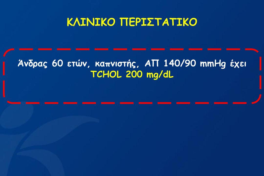 Άνδρας 60 ετών, καπνιστής, ΑΠ 140/90 mmHg έχει ΤCHOL 200 mg/dL