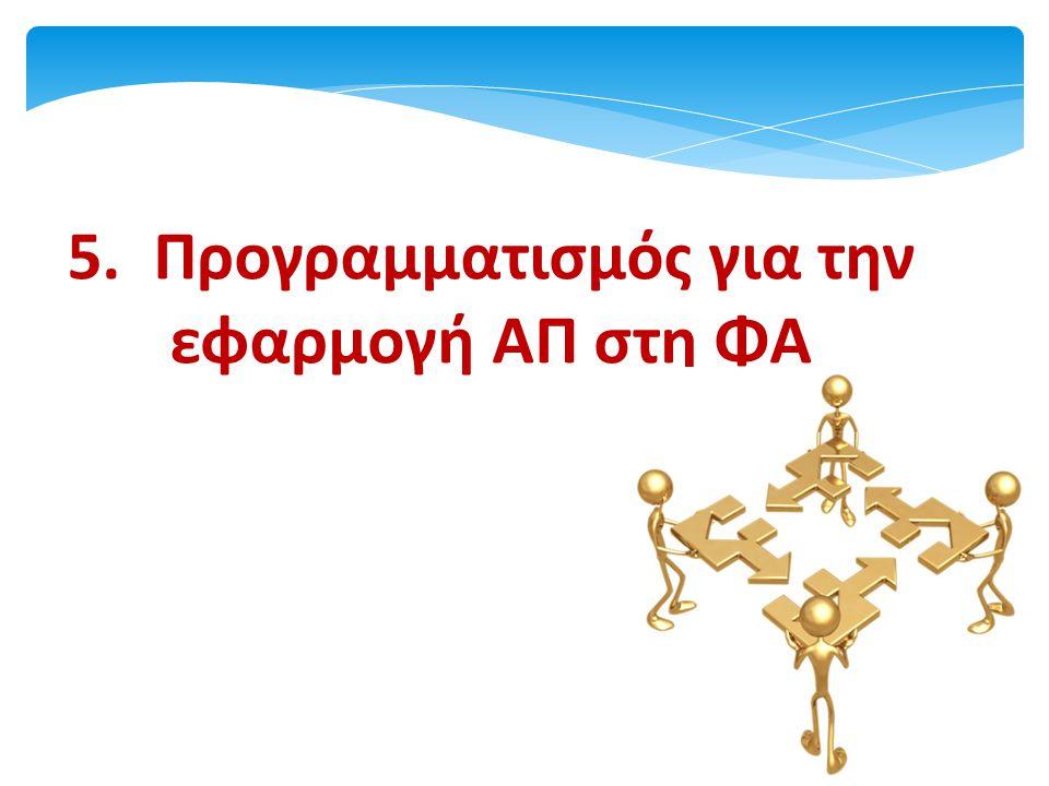5. Προγραμματισμός για την εφαρμογή ΑΠ στη ΦΑ