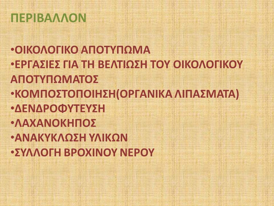 ΠΕΡΙΒΑΛΛΟΝ ΟΙΚΟΛΟΓΙΚΟ ΑΠΟΤΥΠΩΜΑ