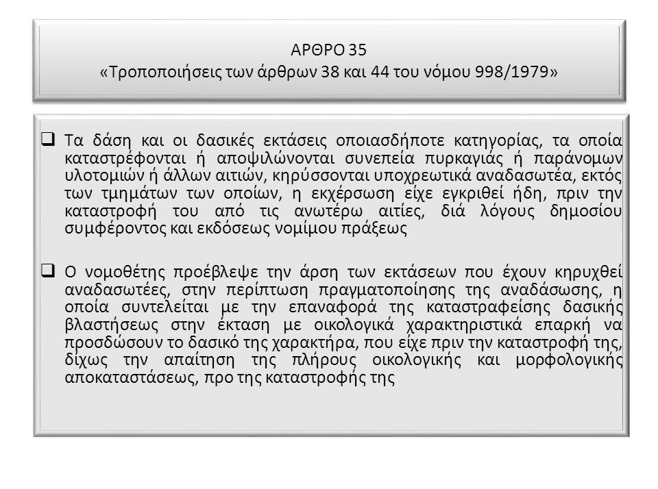 ΑΡΘΡΟ 35 «Τροποποιήσεις των άρθρων 38 και 44 του νόμου 998/1979»