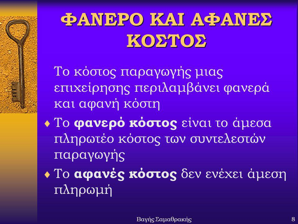 ΦΑΝΕΡΟ ΚΑΙ ΑΦΑΝΕΣ ΚΟΣΤΟΣ