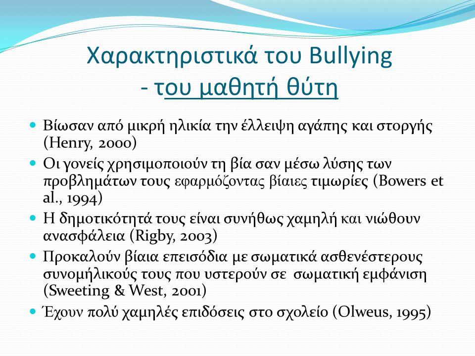 Χαρακτηριστικά του Bullying - του μαθητή θύτη