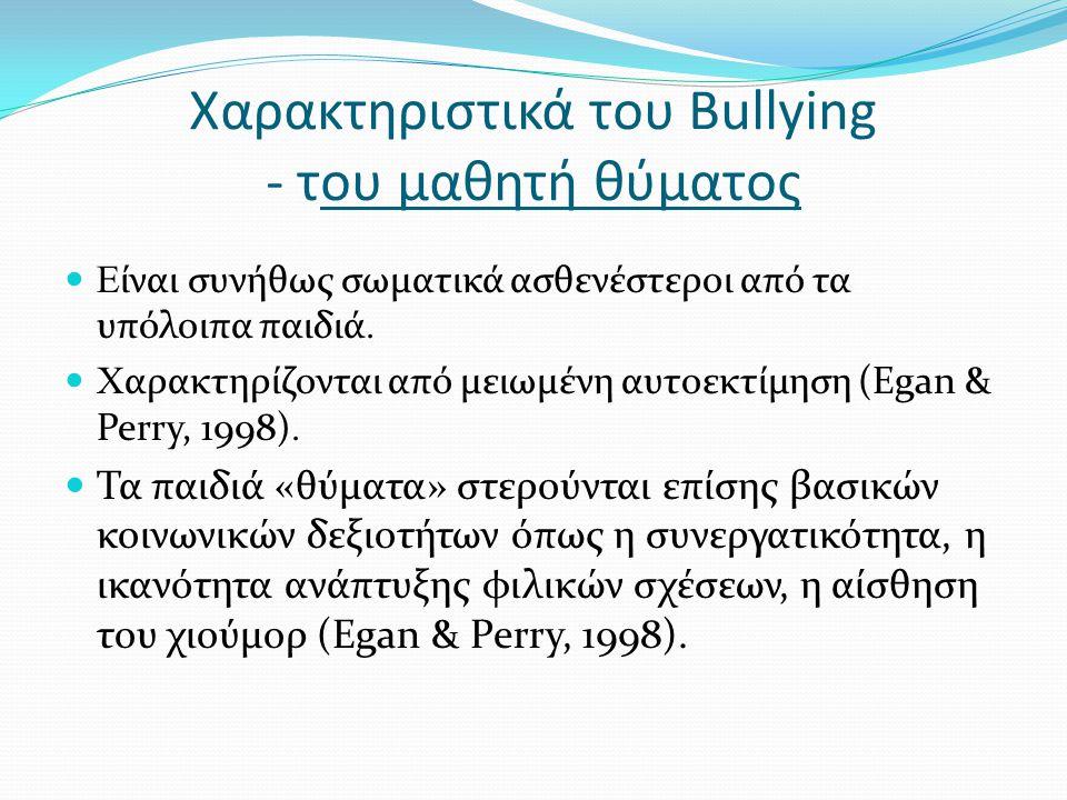 Χαρακτηριστικά του Bullying - του μαθητή θύματος