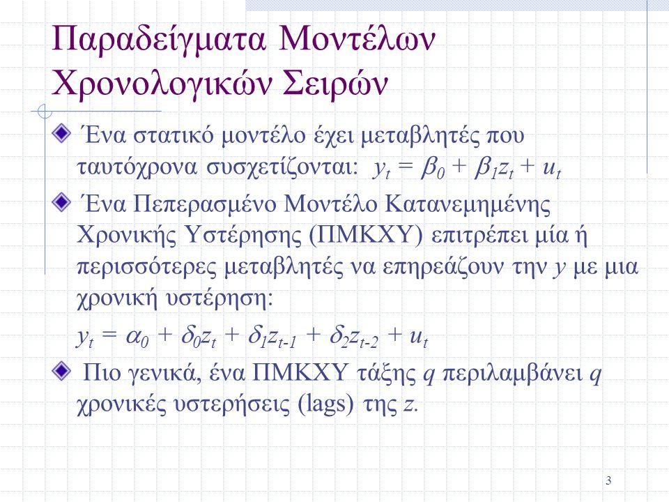 Παραδείγματα Μοντέλων Χρονολογικών Σειρών
