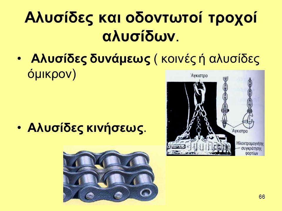 Αλυσίδες και οδοντωτοί τροχοί αλυσίδων.