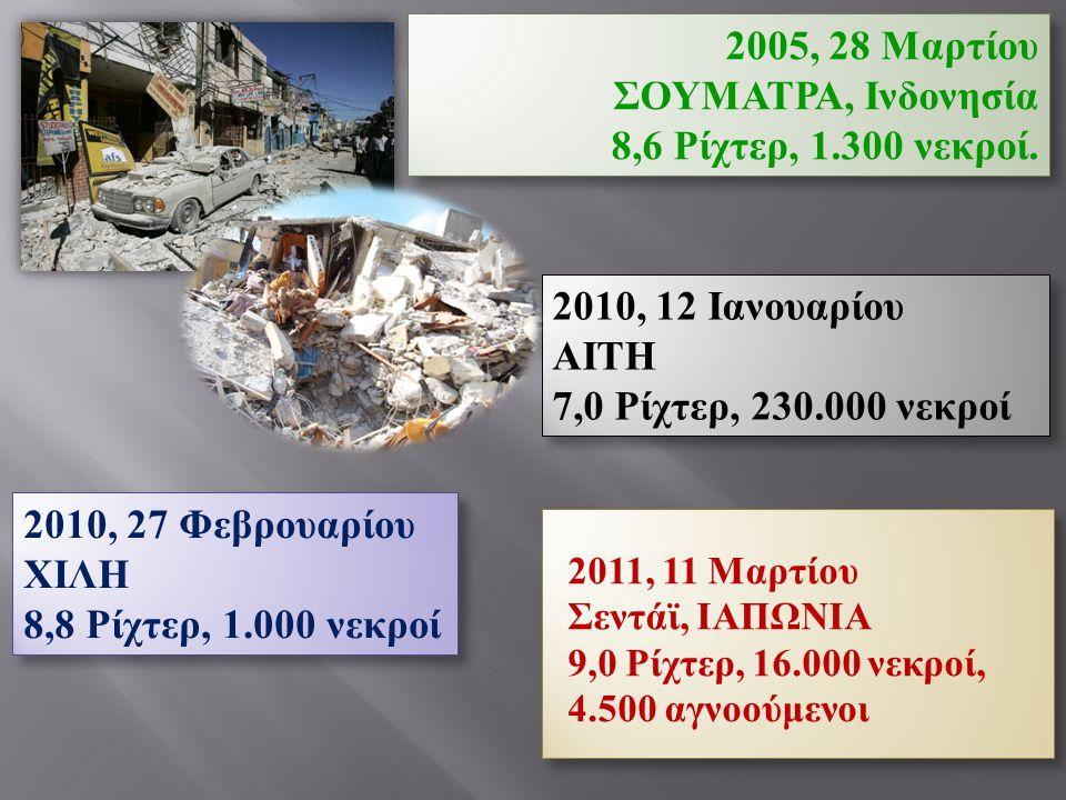 2005, 28 Μαρτίου ΣΟΥΜΑΤΡΑ, Ινδονησία 8,6 Ρίχτερ, 1.300 νεκροί.
