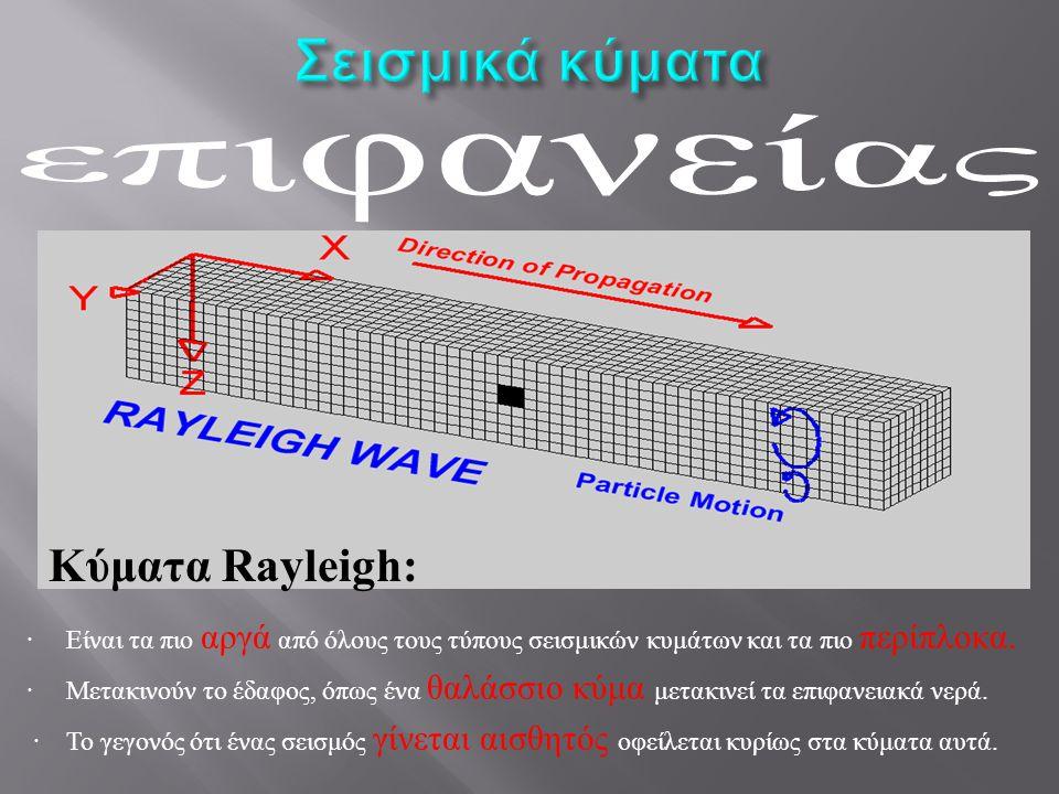 επιφανείας Σεισμικά κύματα Κύματα Rayleigh: