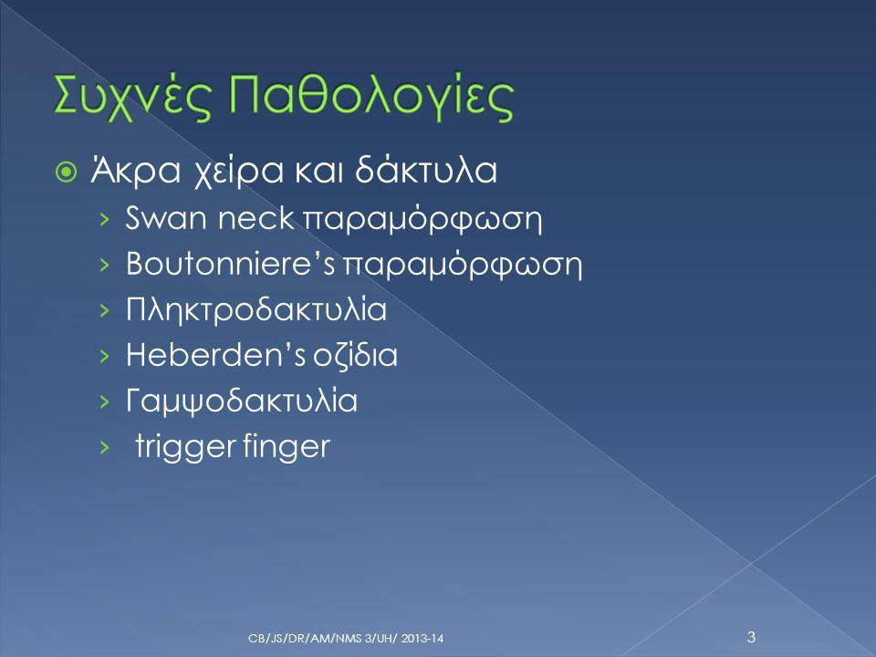 Συχνές Παθολογίες Άκρα χείρα και δάκτυλα Swan neck παραμόρφωση