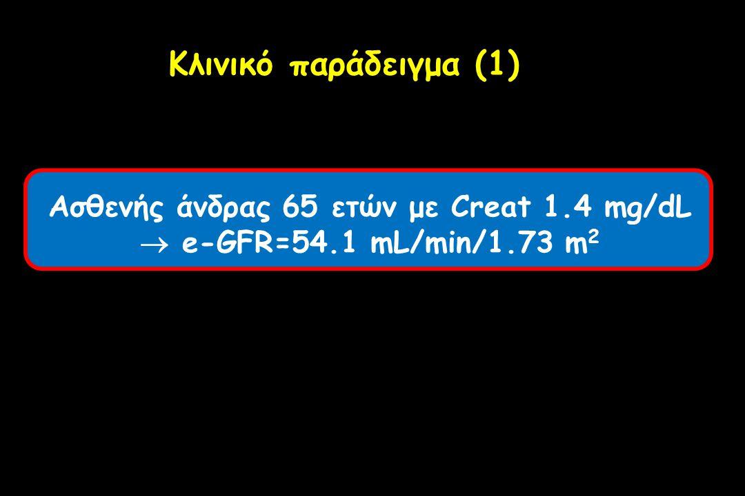 Ασθενής άνδρας 65 ετών με Creat 1.4 mg/dL
