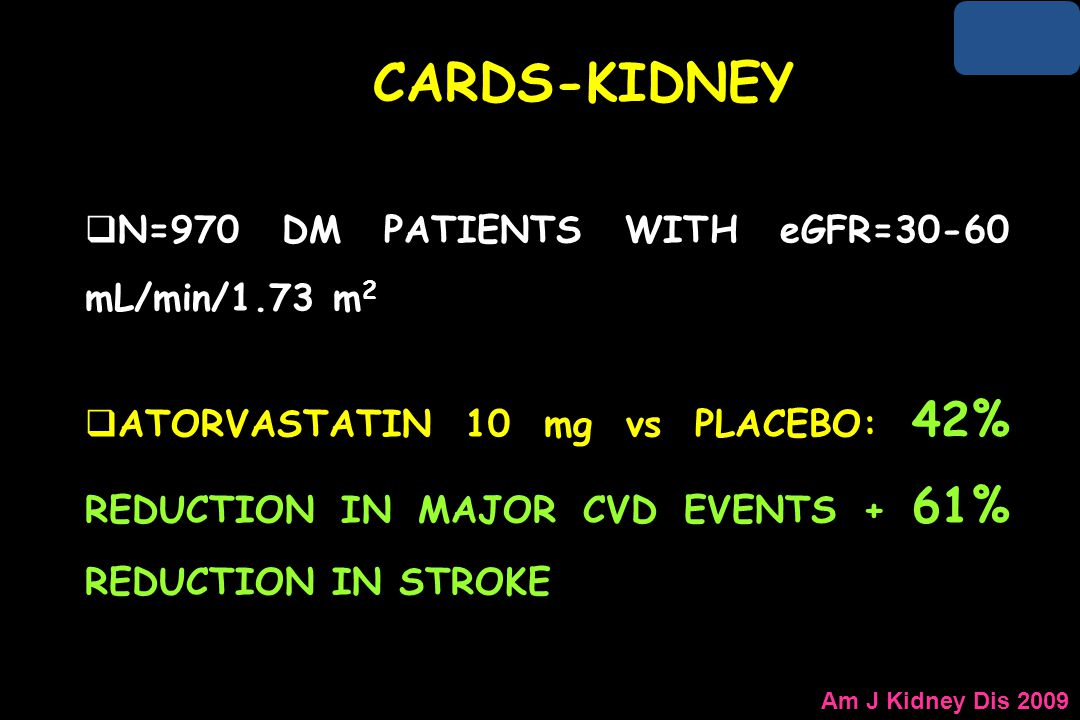 CARDS-KIDNEY N=970 DM PATIENTS WITH eGFR=30-60 mL/min/1.73 m2