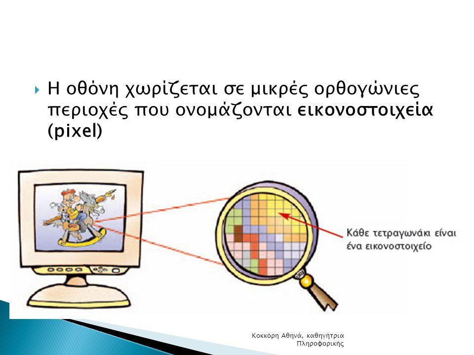 Η οθόνη χωρίζεται σε μικρές ορθογώνιες περιοχές που ονομάζονται εικονοστοιχεία (pixel)
