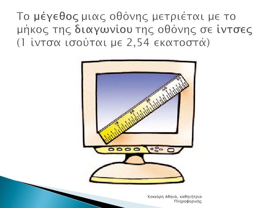 Το μέγεθος μιας οθόνης μετριέται με το μήκος της διαγωνίου της οθόνης σε ίντσες (1 ίντσα ισούται με 2,54 εκατοστά)