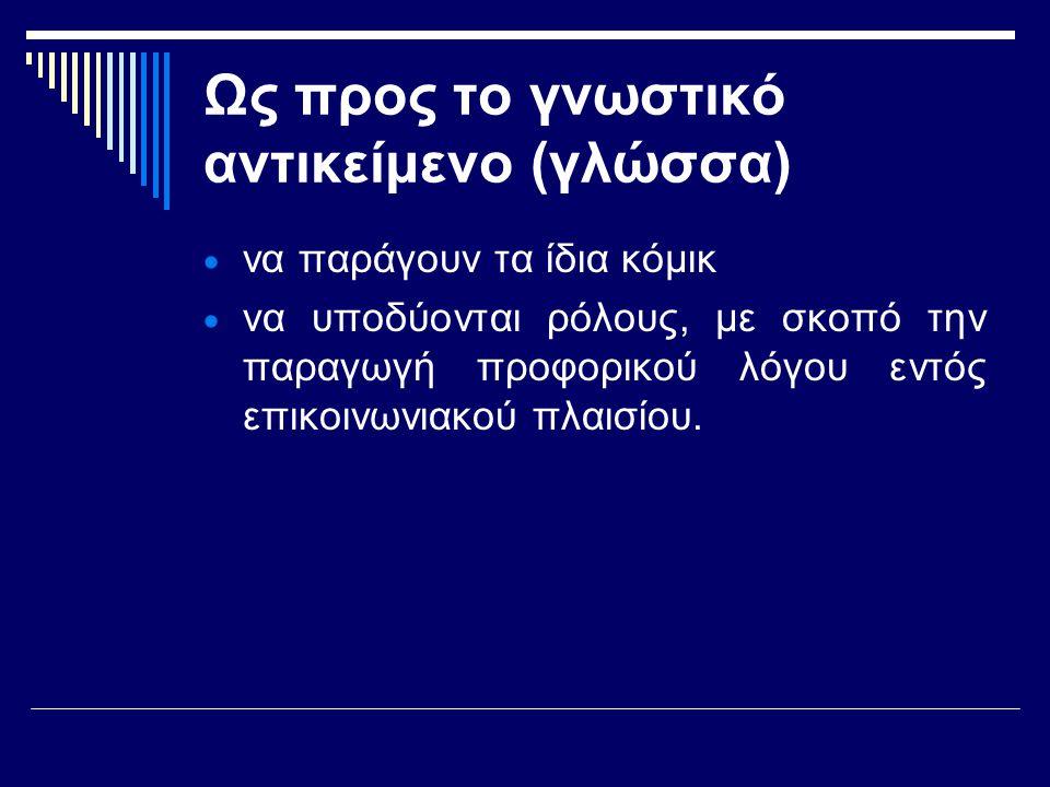 Ως προς το γνωστικό αντικείμενο (γλώσσα)