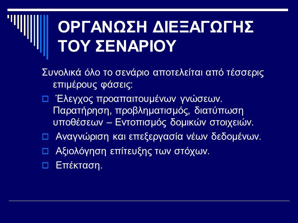 ΟΡΓΑΝΩΣΗ ΔΙΕΞΑΓΩΓΗΣ ΤΟΥ ΣΕΝΑΡΙΟΥ