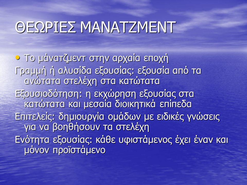 ΘΕΩΡΙΕΣ ΜΑΝΑΤΖΜΕΝΤ Το μάνατζμεντ στην αρχαία εποχή