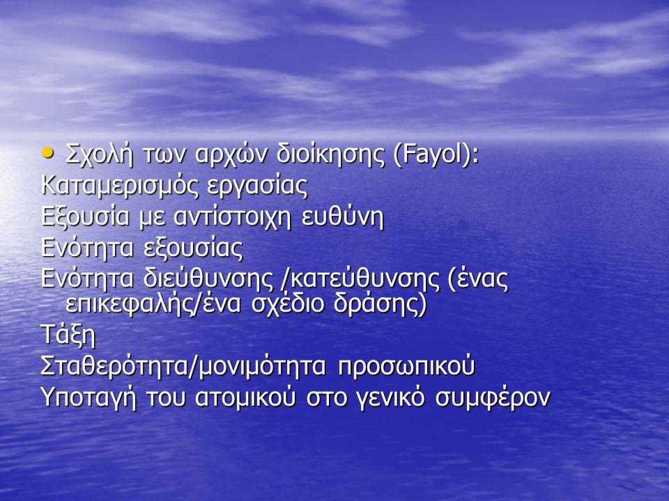 Σχολή των αρχών διοίκησης (Fayol):