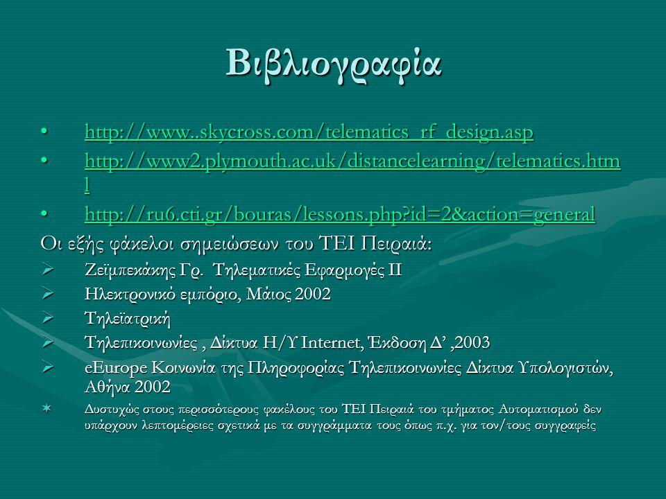 Βιβλιογραφία http://www..skycross.com/telematics_rf_design.asp