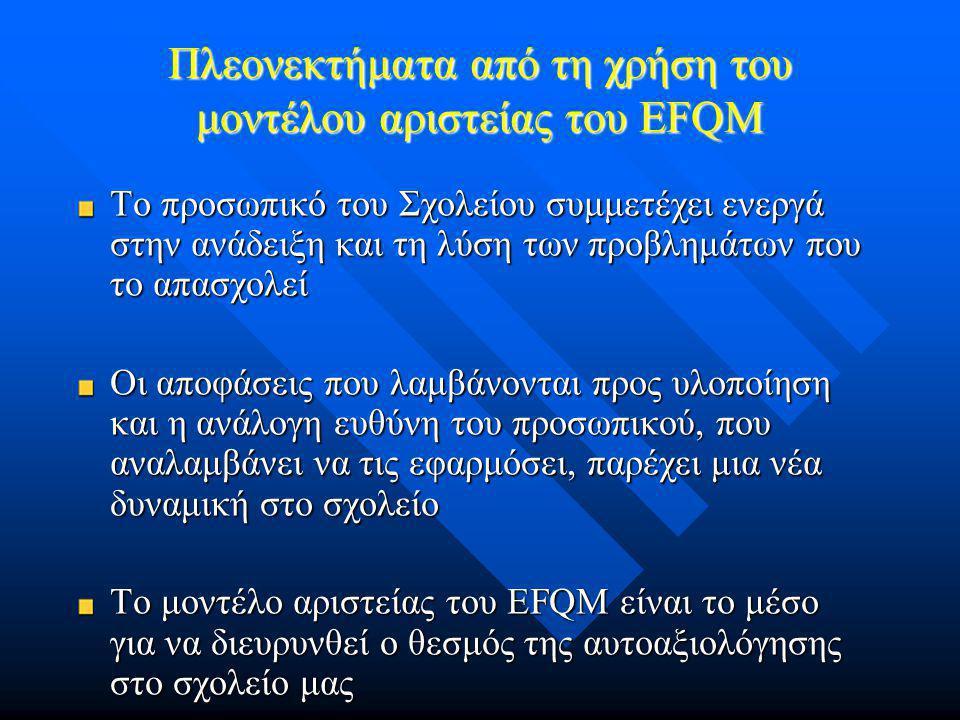 Πλεονεκτήματα από τη χρήση του μοντέλου αριστείας του EFQM