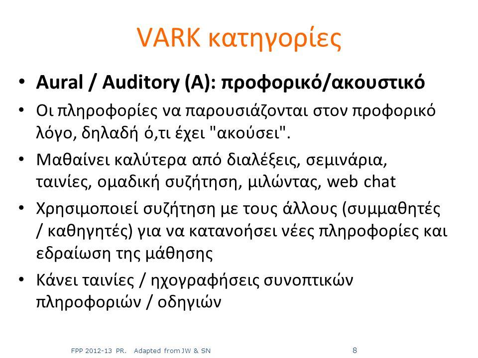 VARK κατηγορίες Aural / Auditory (A): προφορικό/ακουστικό
