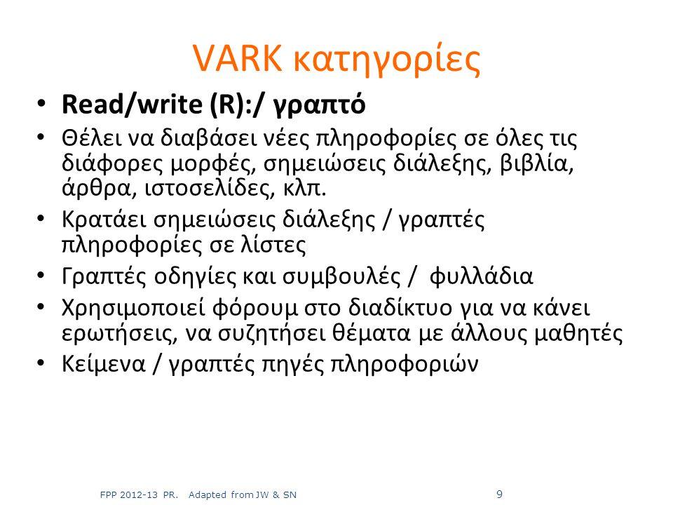 VARK κατηγορίες Read/write (R):/ γραπτό
