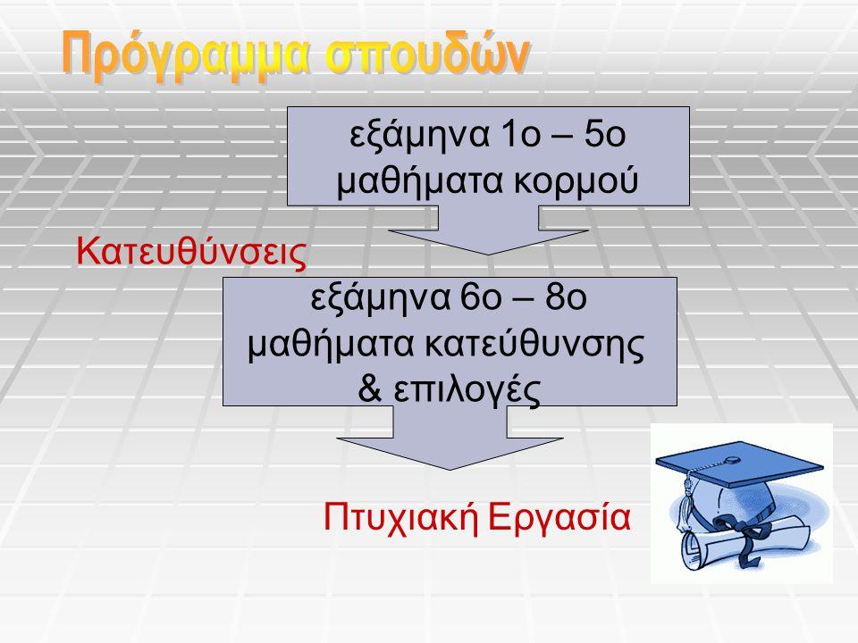 Πρόγραμμα σπουδών εξάμηνα 1ο – 5ο μαθήματα κορμού Κατευθύνσεις