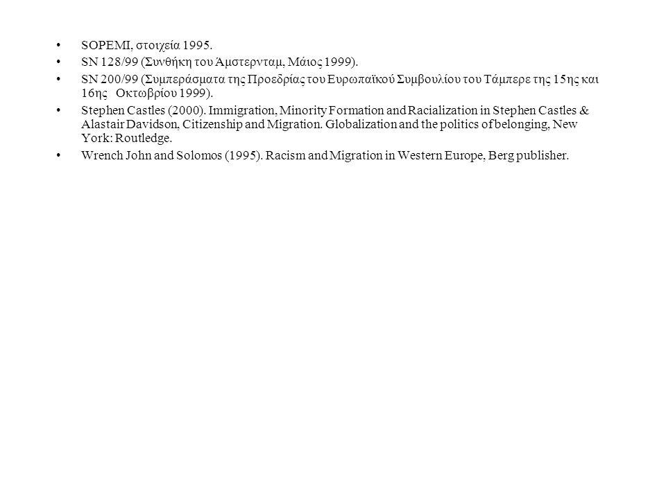 SOPEMI, στοιχεία 1995. SN 128/99 (Συνθήκη του Άμστερνταμ, Μάιος 1999).