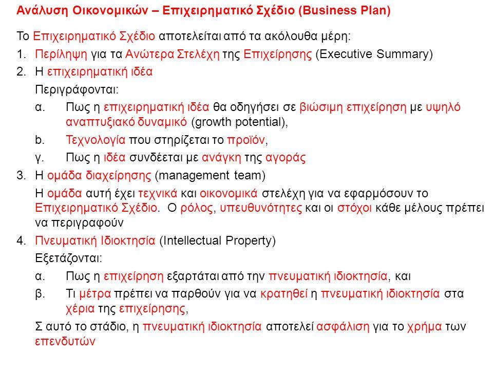 Ανάλυση Οικονομικών – Επιχειρηματικό Σχέδιο (Business Plan)