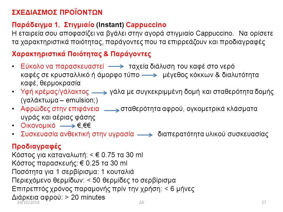 Παράδειγμα 1. Στιγμιαίο (Instant) Cappuccino