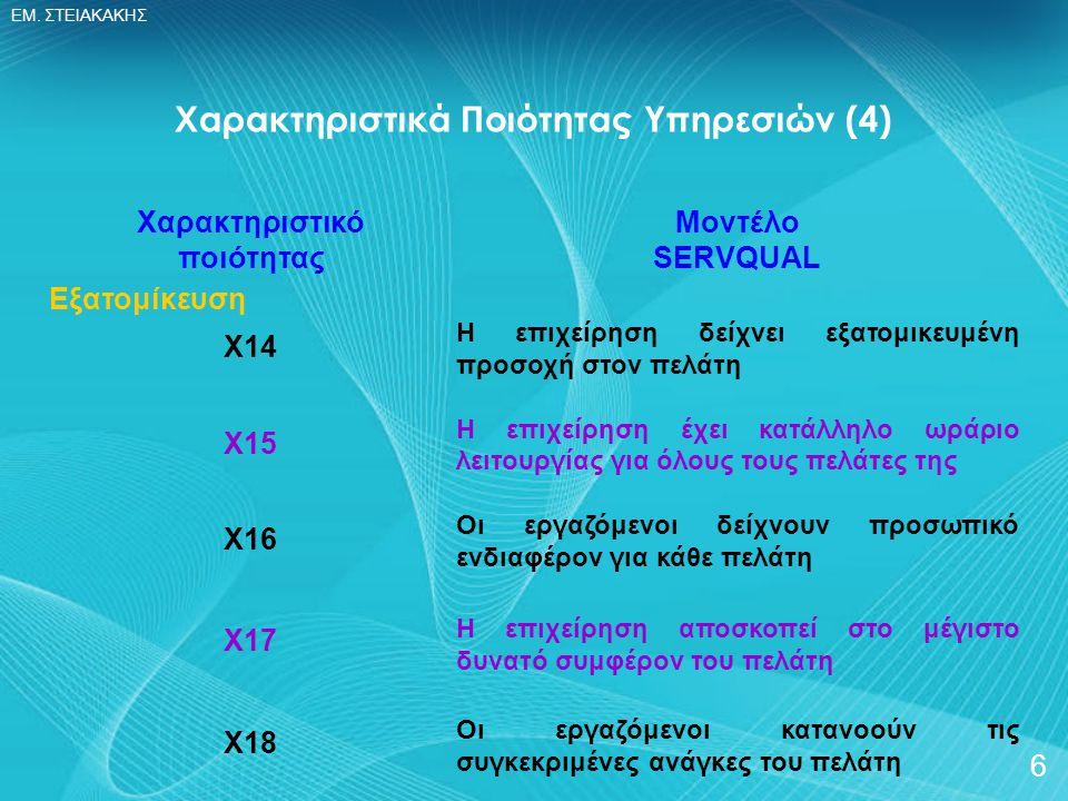 Χαρακτηριστικά Ποιότητας Υπηρεσιών (4)