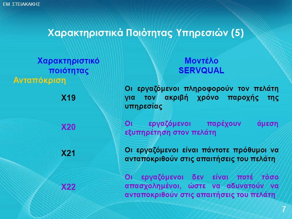 Χαρακτηριστικά Ποιότητας Υπηρεσιών (5)