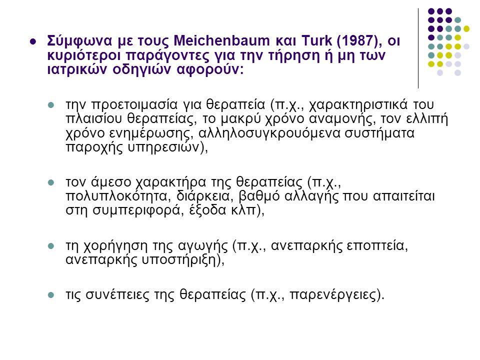 Σύμφωνα με τους Meichenbaum και Turk (1987), οι κυριότεροι παράγοντες για την τήρηση ή μη των ιατρικών οδηγιών αφορούν: