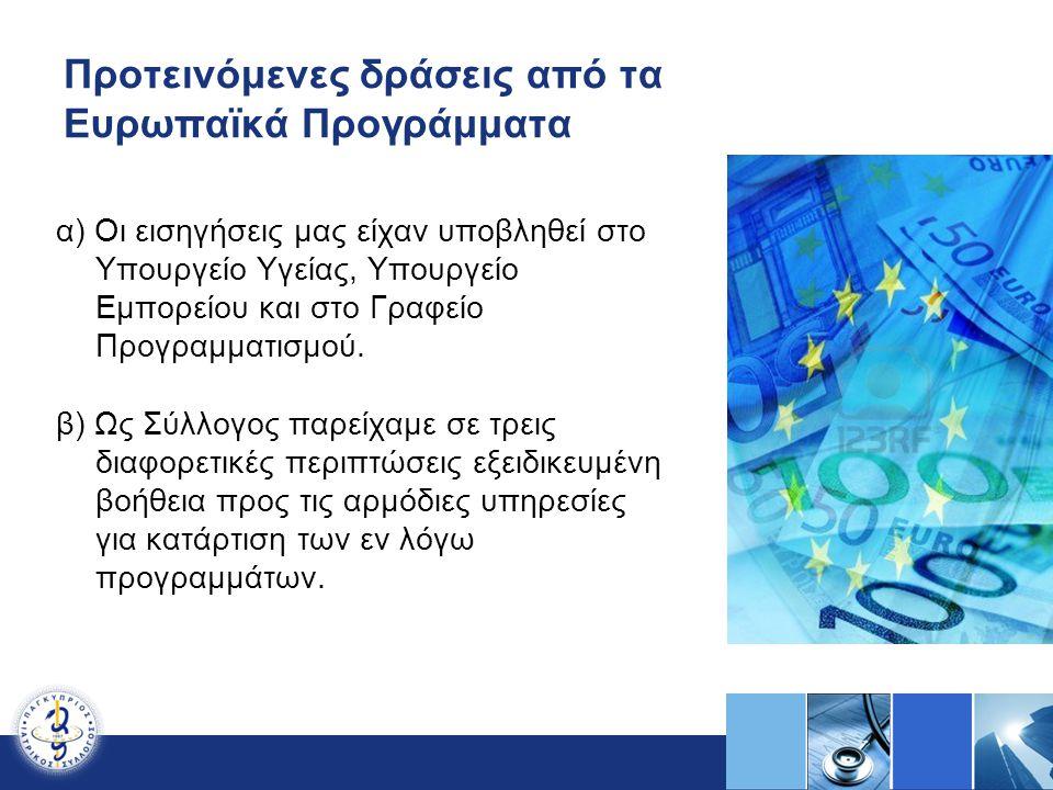 Προτεινόμενες δράσεις από τα Ευρωπαϊκά Προγράμματα