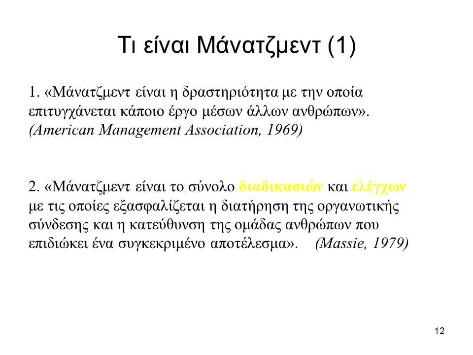 Τι είναι Μάνατζμεντ (1) 1. «Μάνατζμεντ είναι η δραστηριότητα με την οποία. επιτυγχάνεται κάποιο έργο μέσων άλλων ανθρώπων».