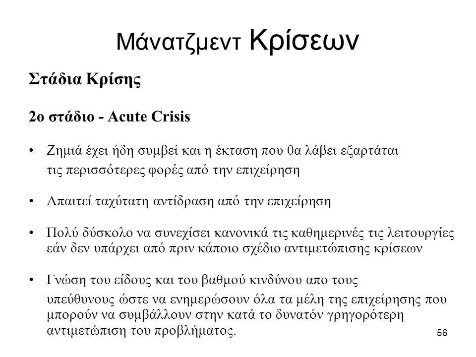 Μάνατζμεντ Κρίσεων Στάδια Κρίσης 2ο στάδιο - Acute Crisis