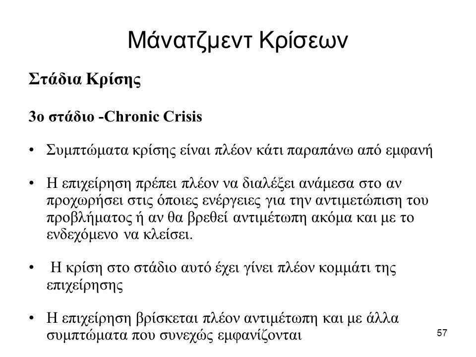Μάνατζμεντ Κρίσεων Στάδια Κρίσης 3ο στάδιο -Chronic Crisis